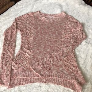 • Pink Rose Open Knit Sweater •